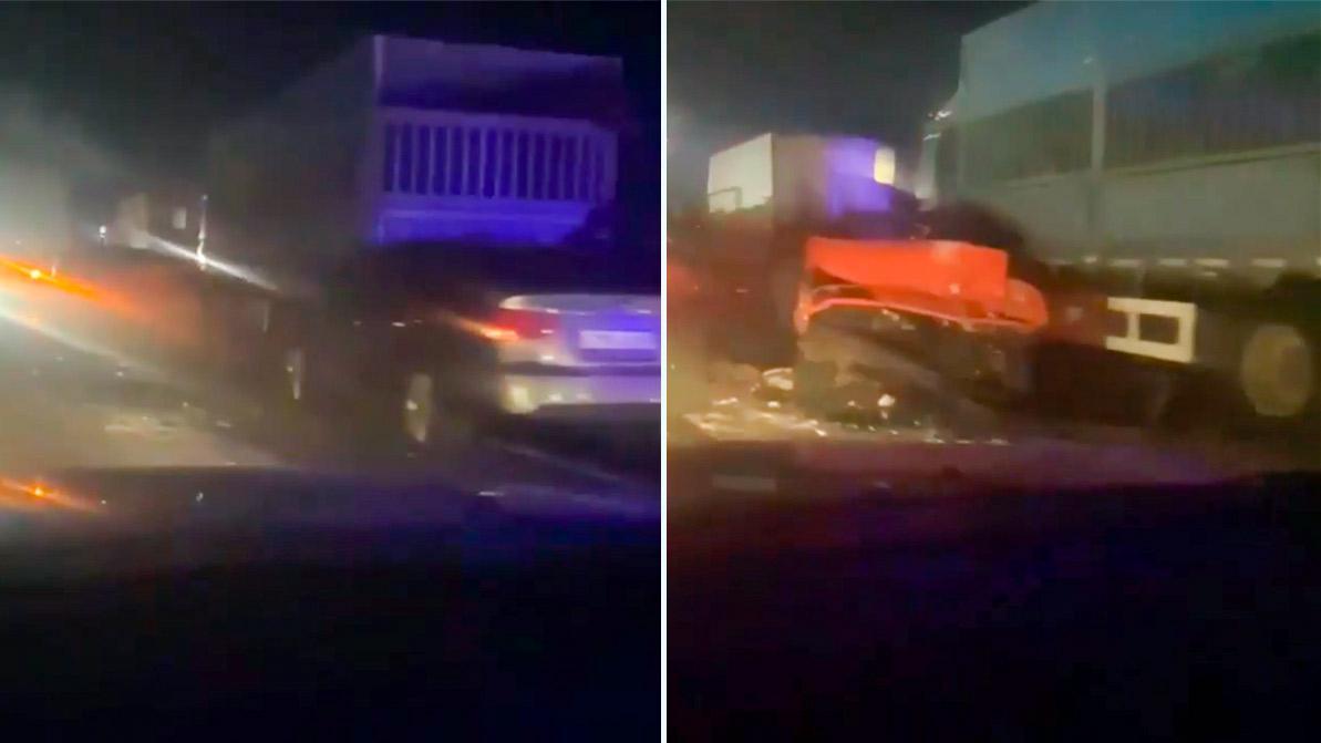 По меньшей мере шесть автомобилей столкнулись на автомагистрали Алматы – Капшагай