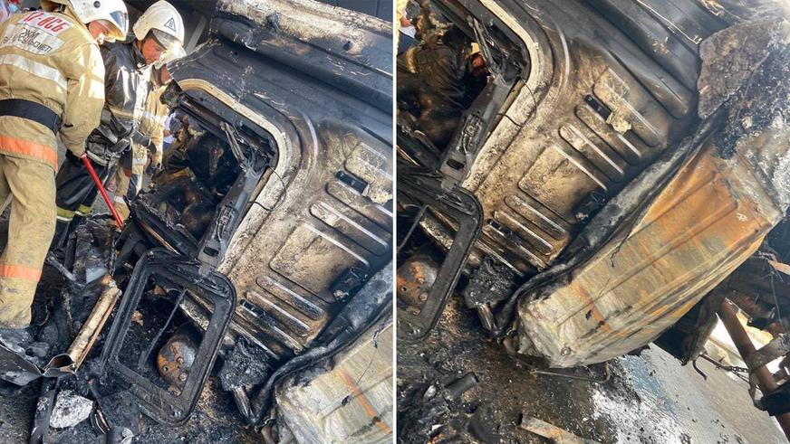 Фура упала с моста и сгорела в Туркестанской области