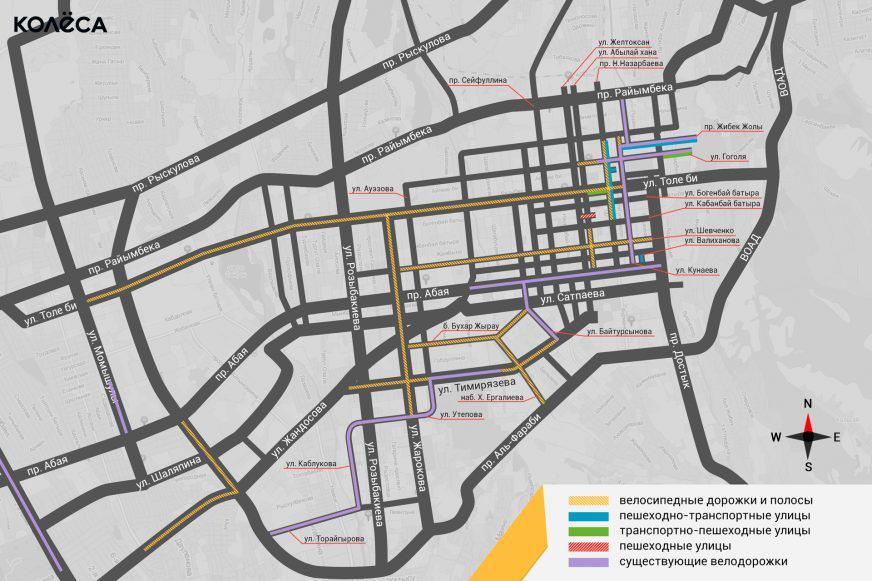 Карта пешеходных улиц