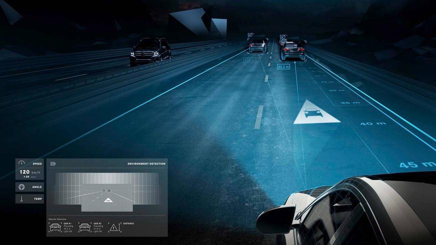 Фары научили «рисовать» на дороге подсказки для водителя