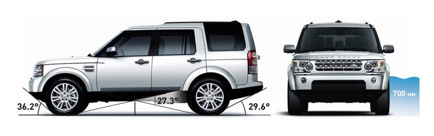 Land Rover Discovery 4 - 2011 - углы съезда