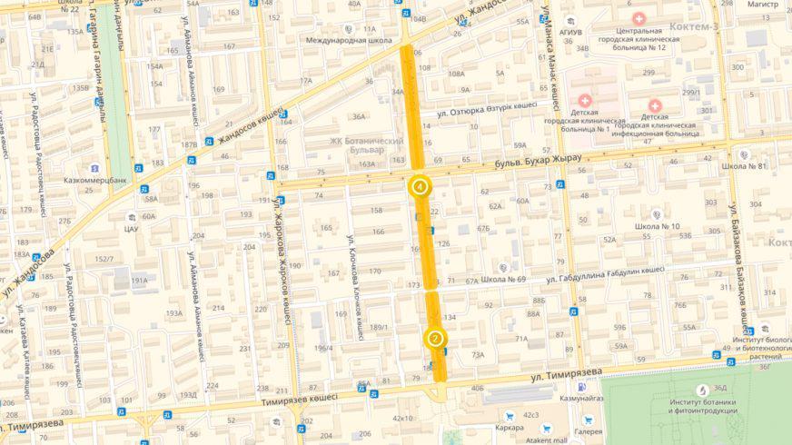 25 сентября парковка на Ауэзова в Алматы станет платной