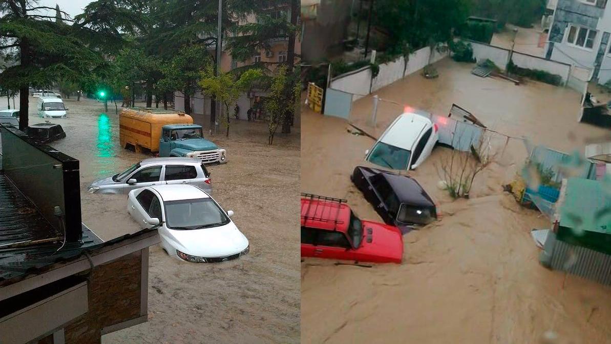 Десятки машин плавали в Туапсе