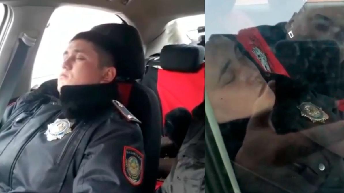 Полицейского, заснявшего спящего коллегу, уволили