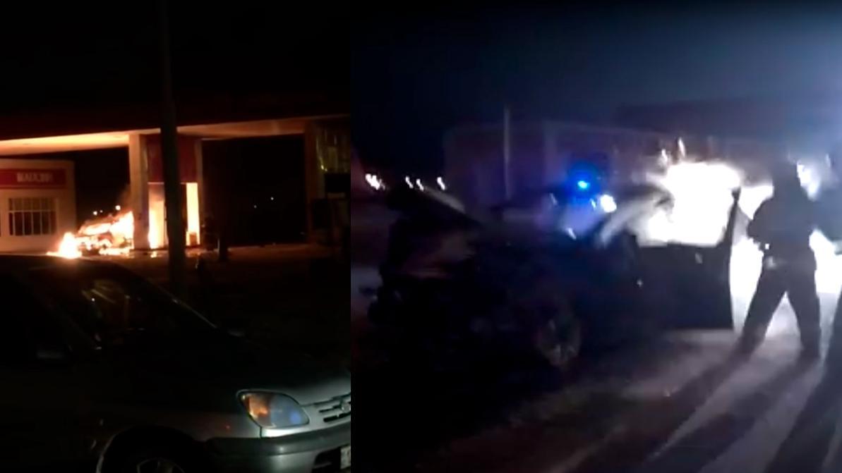 Kia Sportage вспыхнул на заправке в Астане