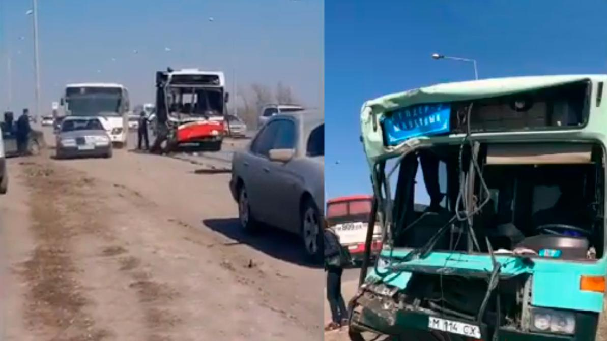 Три автобуса столкнулись в Караганде