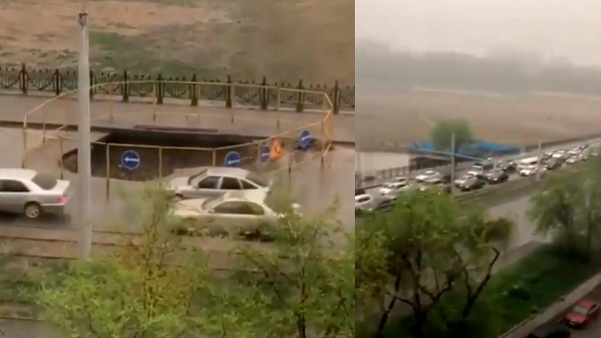 Участок улицы Толе би провалился в Алматы
