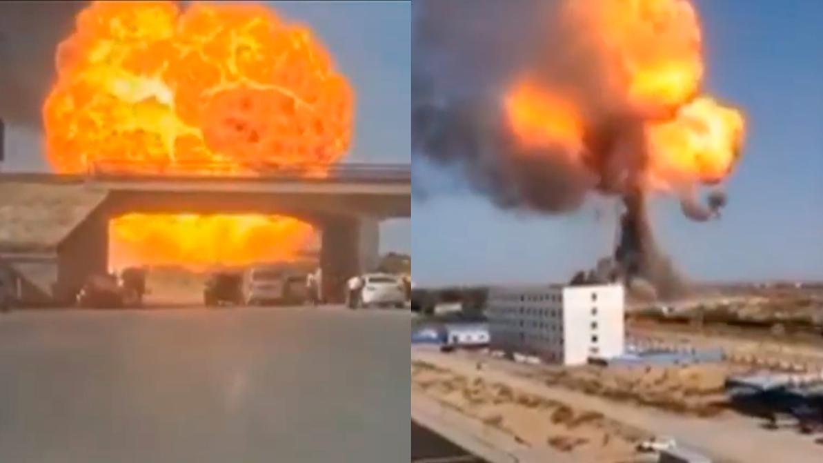 В огненный гриб превратился бензовоз в Китае