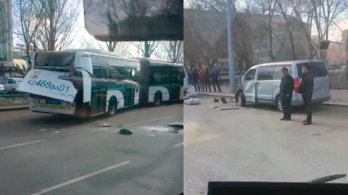 Три машины протаранены автобусом в Нур-Султане