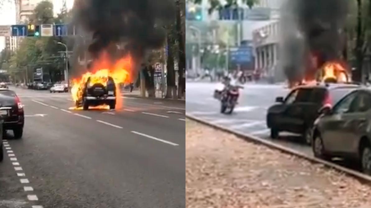 Isuzu Trooper тушили пожарные, прибывшие на мотоциклах