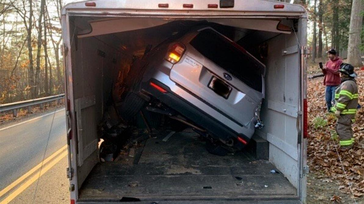 Subaru Forester «припарковался» в прицепе