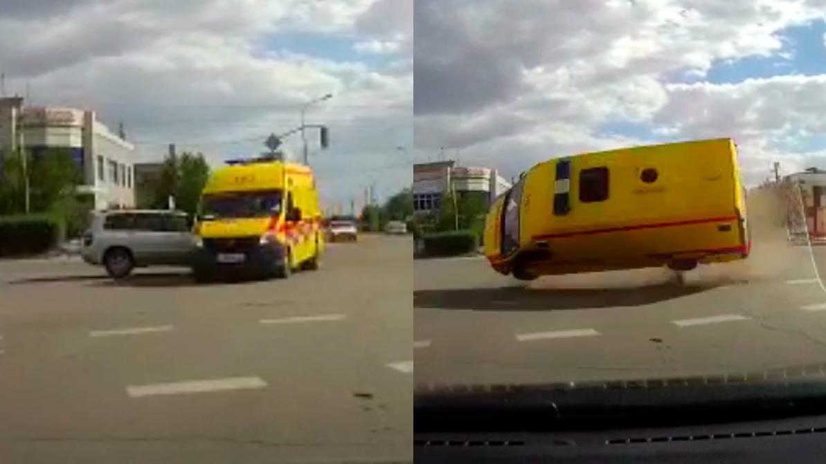 Toyota Highlander протаранил скорую в Карагандинской области