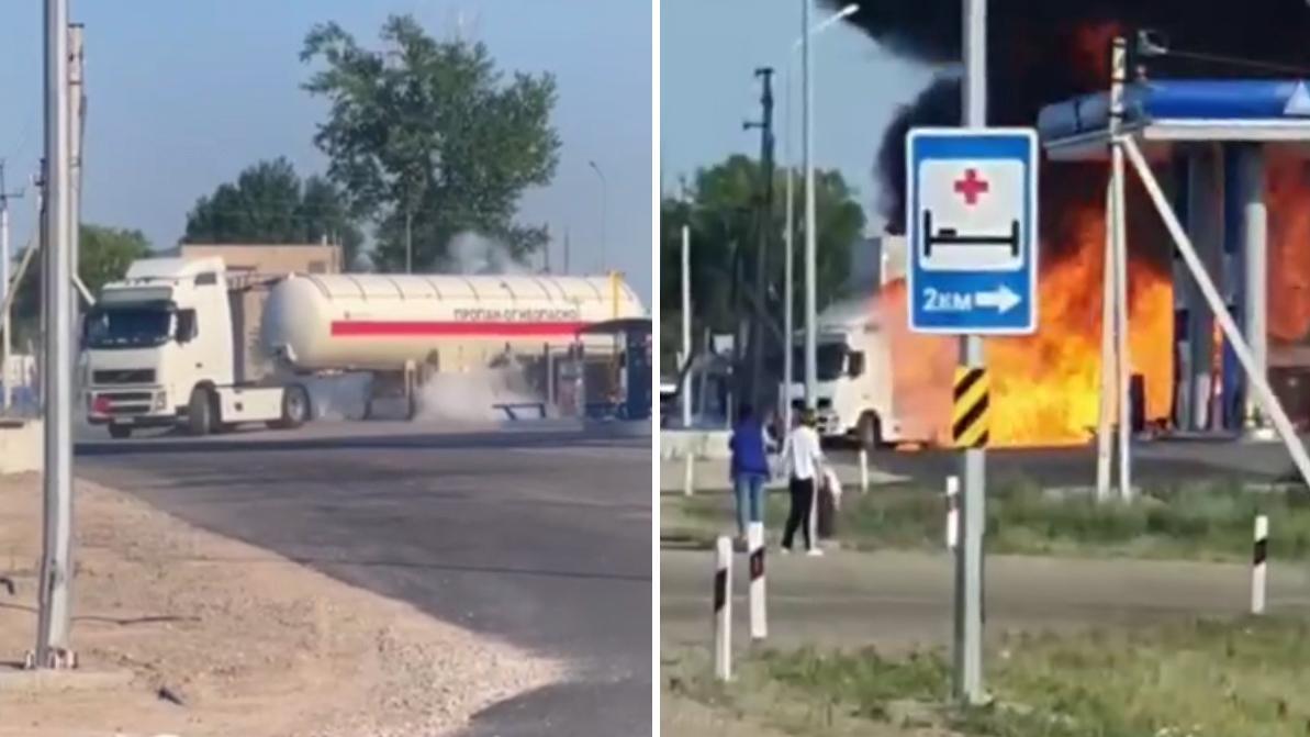Трассу Нур-Султан – Караганда перекрыли из-за загоревшегося бензовоза