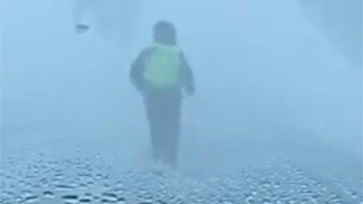 В буран полицейский бежал перед колонной, указывая путь