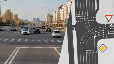 Схему движения на пересечении улиц Амман и Шарля де Голля изменили в Нур-Султане