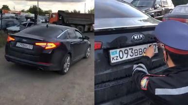 Полицейского на автомобиле с подложными номерами задержали в Уральске