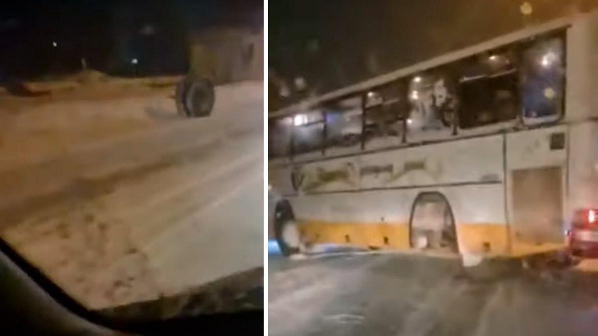 Задние колёса потерял на ходу автобус в Рудном