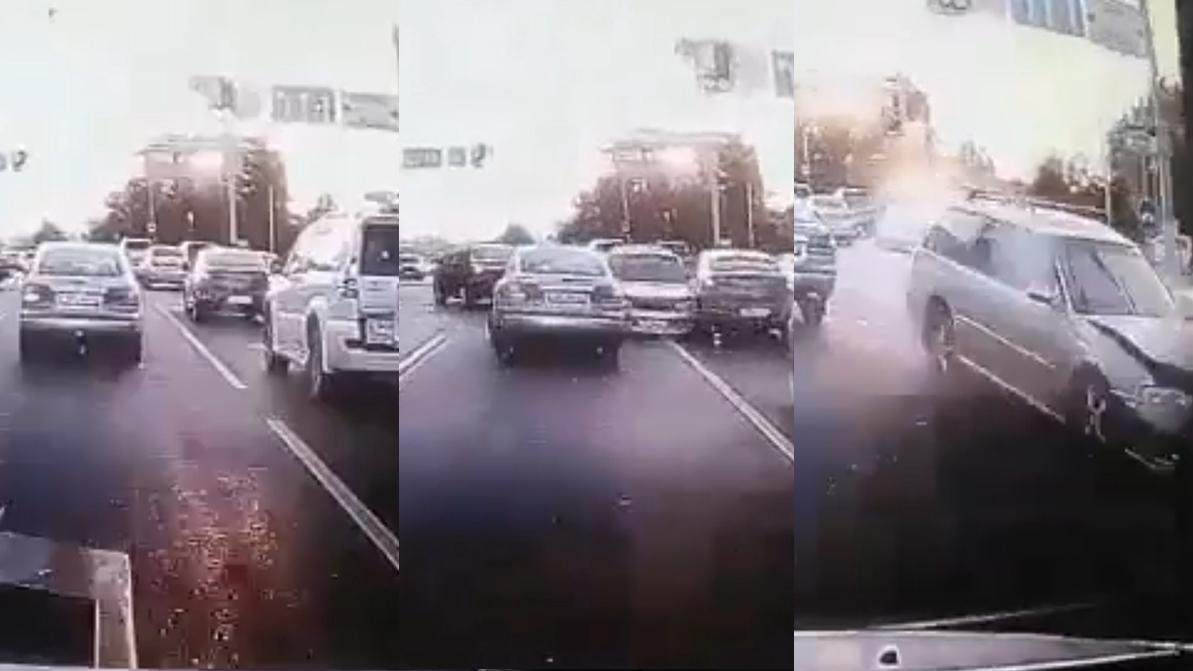 В Алматы Subaru, уходя от погони, протаранила несколько авто