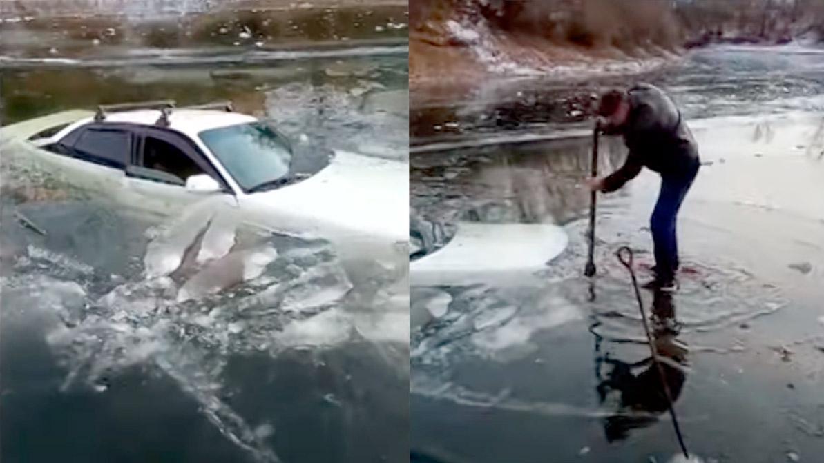 Audi 100 провалилась под лёд в ЗКО