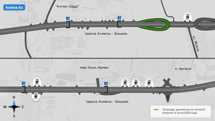 Разворот над Райымбека, возле «Апорта», откроют после испытаний