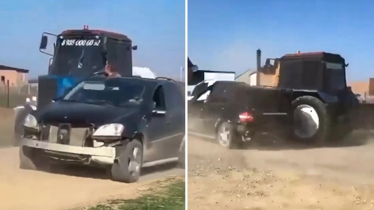 Видео дня: трактор против ML 63 на свадьбе