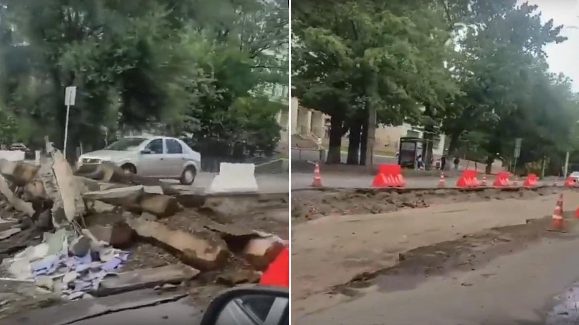 C улицы Толе би в Алматы начали выкапывать трамвайные пути