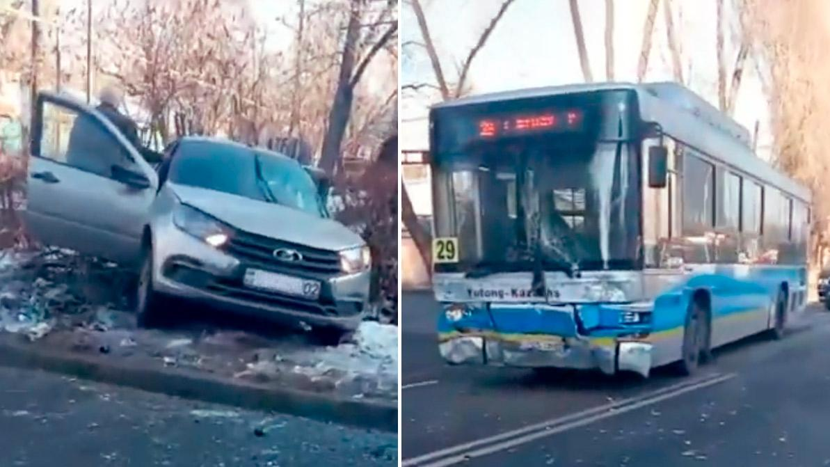Автобус протаранил Lada Granta. Шестеро пострадали