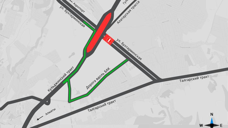 Движение по кольцу на пересечении Бухтарминской и Кульджинки закрыли