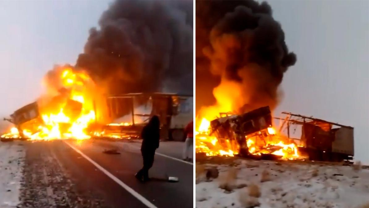Водитель фуры сгорел заживо в ДТП на трассе в Актюбинской области