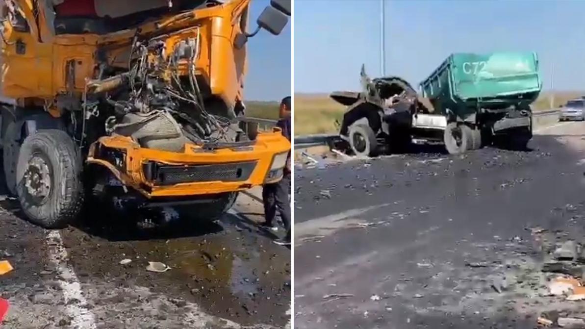 Два самосвала разбились в хлам на объездной дороге близ столицы