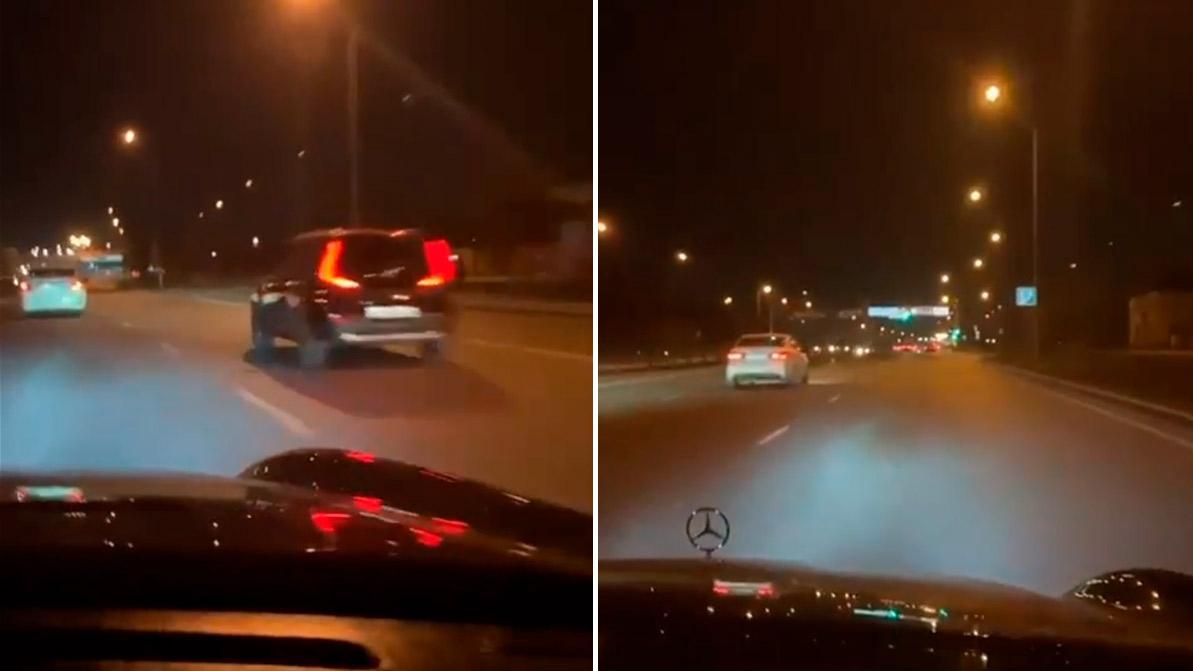 ДТП с Mercedes-Benz на Рыскулова. Появилось видео
