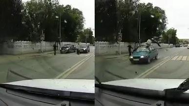 Наезд на пешехода попал на видео в Караганде
