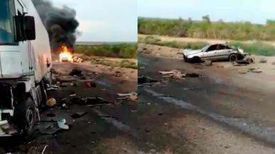 Массовая авария со взрывом газовоза в Алматинской области. Один человек погиб