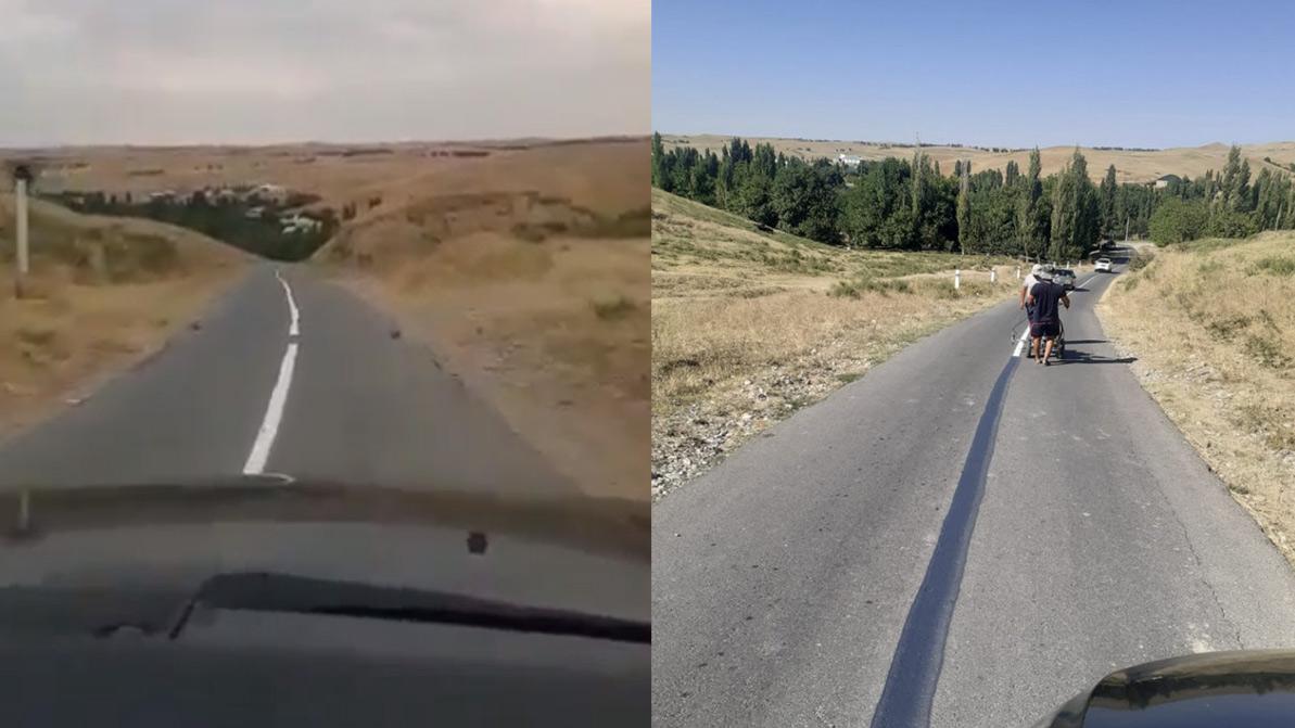 По полполосы в каждую сторону. Интересную дорогу обнаружили в Туркестанской области