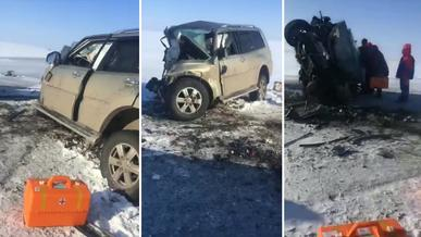 Mitsubishi Pajero и Lexus RX столкнулись на трассе. Семеро погибли