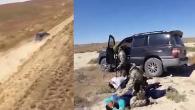 На внедорожниках Toyota Land Cruiser наркодельцы пытались сбежать от вертолёта