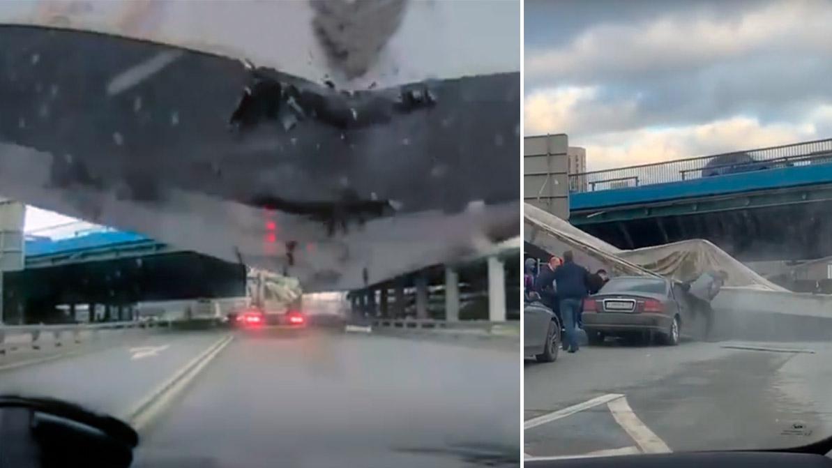Балка рухнула на автомобиль. Момент ДТП попал на видео