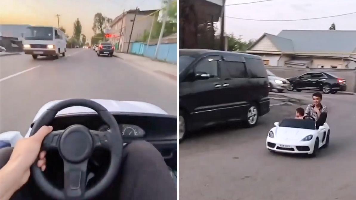 Игрушечный Porsche на дороге попал на видео в Алматы