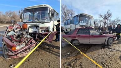Водитель Mitsubishi Galant погиб при столкновении с автобусом