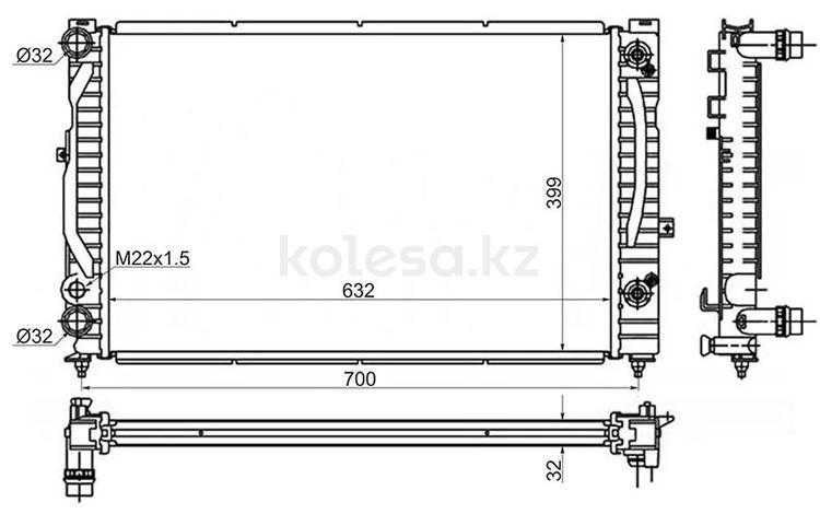 Радиатор AUDI a4/s4 1.6/1.8/1.8T/1.9Td 94-00/AUDI a6/s6 1.9Td 97-04/VW PAS за 18 150 тг. в Алматы