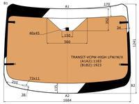 Стекло лобовое с полным обогревом в клей FORD Transit (высокая… за 82 200 тг. в Алматы